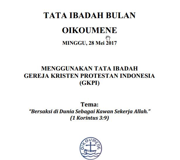 Download Tata Ibadah Bulan Oikumene Tahun 2017