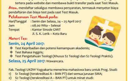 Pengumuman: Tes Masuk Fakultas Teologi Universitas Kristen Duta Wacana Yogyakarta, April 2017 di Kupang