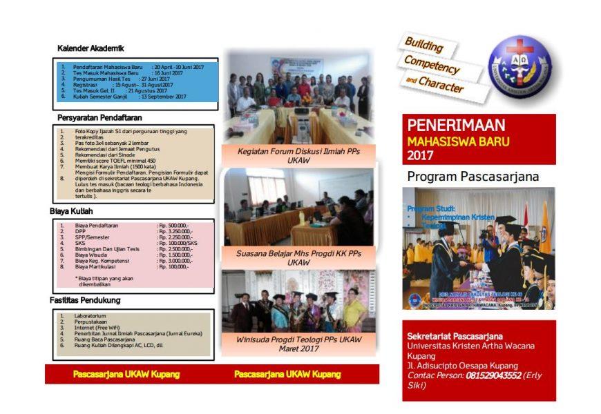 Pengumuman Penerimaan Mahasiswa Baru Tahun 2017 Program Pascasarjana – UKAW Kupang