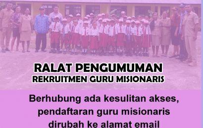 Ralat Pengumuman Rekruitmen Guru Misionaris